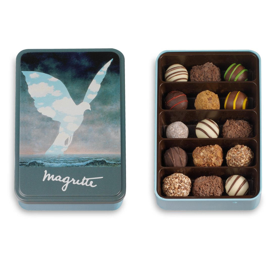Metal Box with Belgian Chocolate Truffles, Special Magritte